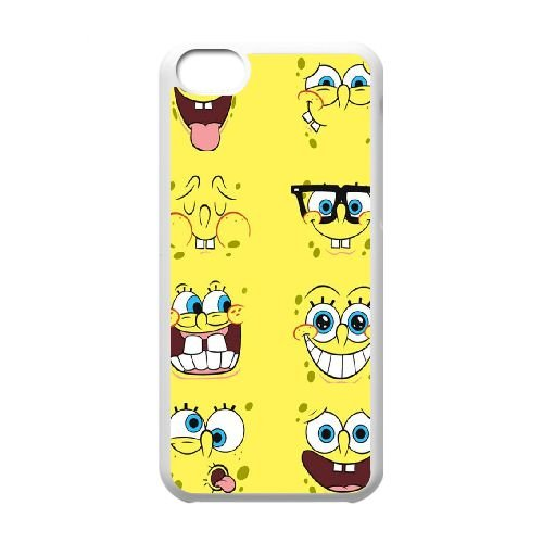 U9E48 Sponge Bob A1C2FD cas d'coque iPhone de téléphone cellulaire 5c couvercle coque blanche RV4LQD5HD