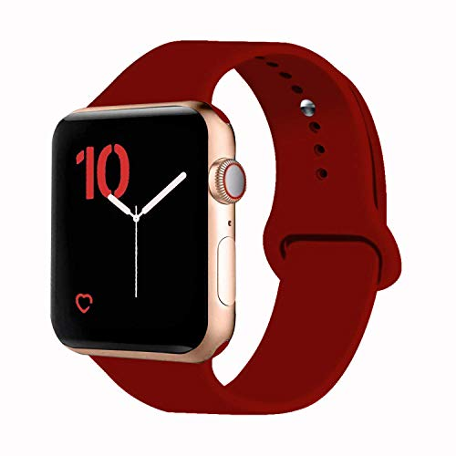 VATI Sport Band Compatible for Apple Watch Band 42mm 44mm, Soft Silicone Sport Strap Replacement Bands Compatible with 2019 Apple Watch Series 5, iWatch 4/3/2/1, 42MM 44MM S/M (Wine Red)