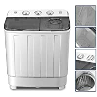 Portable Washing Machine 17lbs Compact Twin Tub Washer and Dryer Combo for Apartments,Dorms,RV's,College Rooms,Camping