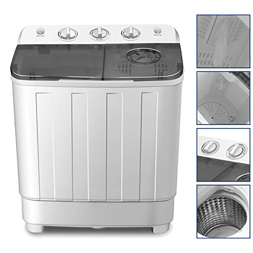 4-EVER Portable Mini Compact Washing Machine Twin Tub Washer and Dryer Combo 17lbs For Dorms Apartments RV's College Rooms Camping Spinner Dryer