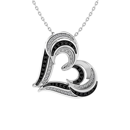 Twin Heart Black & White Diamond Pendant Necklace in Sterling Silver (0.19 (Black & White Diamond Pendant)