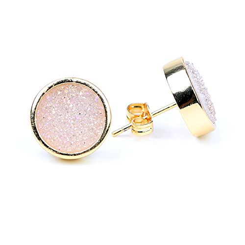 24K Gold Plated Druzy Stud Earrings for Women AB Opal Color Plated Piercing Earrings