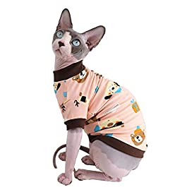 Sphynx Hairless Cat Cute Breathable Summer Cotton T-Shirts Pet Clothes,Round Collar Kitten Shirts, Cats & Small Dogs Apparel