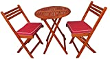 Cheap Zen Garden Eucalyptus Foldable 3-Piece Round Bistro Set with Chair Cushions, Natural Wood Finish