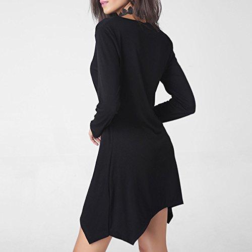 Verano Ropa De Mujer El Temperamento La Moda Color Sólido Rojo Negro Verde Vestido Black