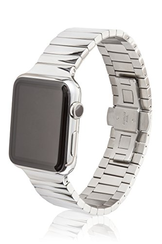 42mm JUUK Revo Premium Apple Watch band, made with Swiss quality using only the highest grade solid 316L stainless steel with a high-polished finish and solid steel butterfly deployant buckle by JUUK