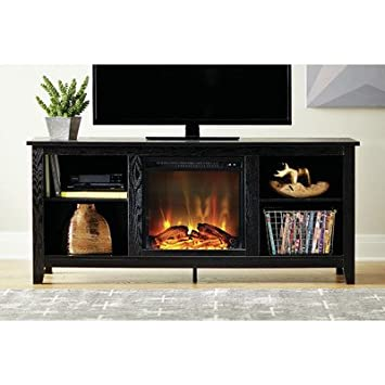 Amazon.com: McCall TV Stand with Electric Fireplace, Black ...