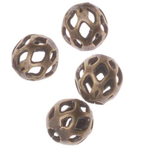 Beadaholique Diamond Cut Out Round Beads, 4mm, Antiqued Brass Antiqued Brass Diamond