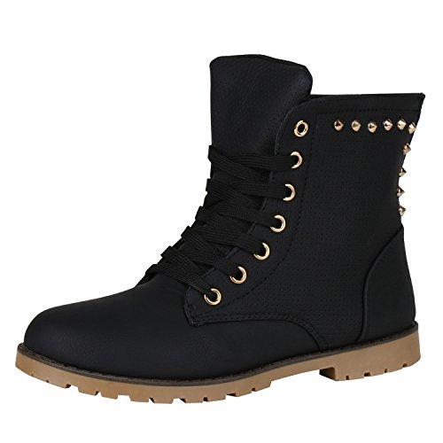 napoli-fashion Leicht Gefütterte Damen Schnürstiefeletten Freizeit Schuhe Jennika Schwarz Black