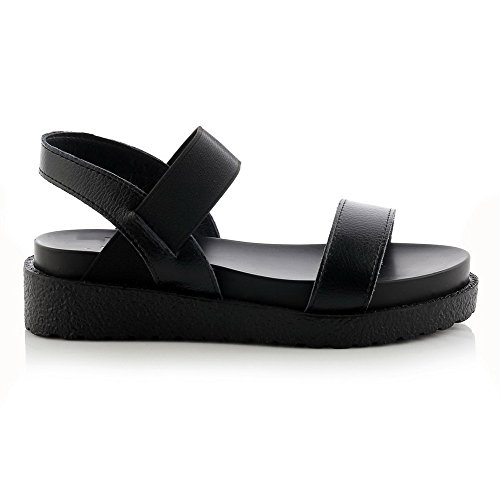 Toe heels Womens Material Assorted Low Soft Color AmoonyFashion Black Sandals Elastic Open BRxpTx
