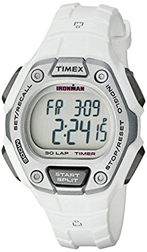 White Sports Watch (Timex Women's Ironman 30-Lap Digital Quartz Mid-Size Watch, White/Silver-Tone - TW5K89400)