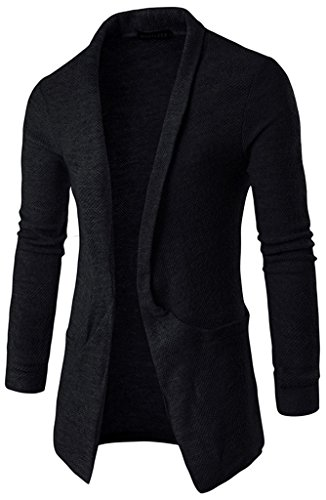 Designer Cardigan Sweater (Whatlees Mens Casual Long Designer Solid Wool Blend Slim Fit Open Outwear Cardigan B338-Black-XL)