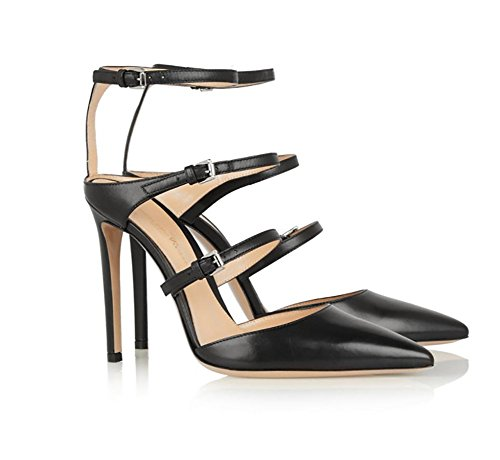 Estilete Zapatillas Sandalias Mujer Talones Señoras Paseo Corte Zapatos Alto Puntiaguda Fiesta Black Punta Nvxie Noche 8x0w14Yqq