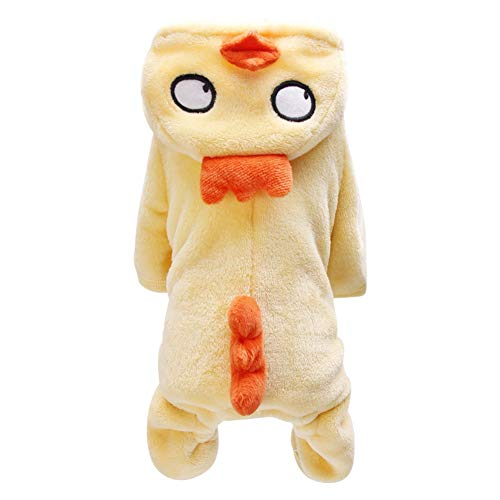 Norbi Pet Clothes for Autumn Winter Warm Coral Velvet Big-Eyed Chicken Costume for Samll Dogs Puppy Hoodie Cold Weather Coat(A Yellow)]()