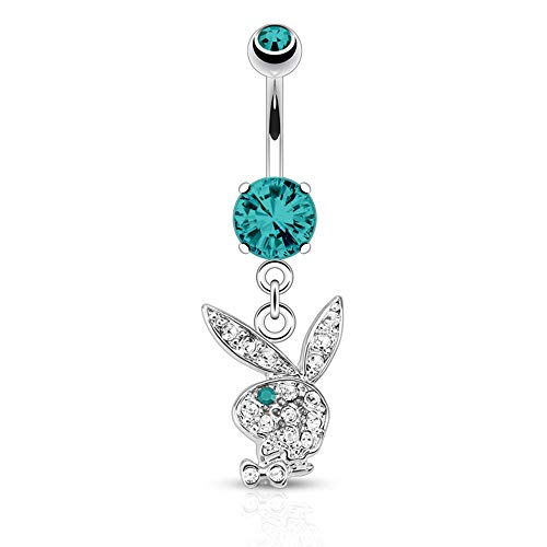 - 316L 14G Surgical Steel Playboy Dangle Belly Button Ring Mixed Colors 3/8