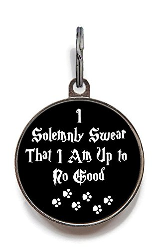 Image of Wag-A-Tude Tags I Solemnly Swear That I Am Up to No Good Dog Tag Pet Tag Custom Dog Tag Cat Tag (Small)