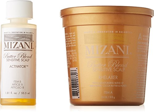 Good Hair Relaxer (Mizani Butter Blend Sensitive Scalp Rhelaxer Single Application article A (7.5 OZ/213G) Nutter blend sensitive scalp Activator article B 1.81 FL. OZ. /53.5ML)