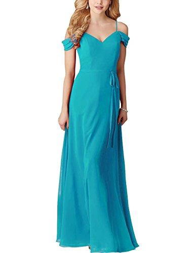 AiniDress With Women Dress Straps Turquoise Evening Bridesmaid Gown Chiffon s Long Wedding Elegant Fg4rFq