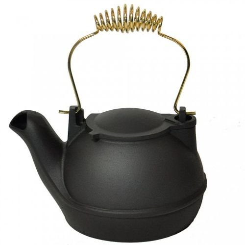 2 Quart Black Half Kettle - Brass Handle
