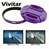 52mm Purple UV Filter and Lens Cap for Nikon Cameras Which Has These Lenses 24mm f2.8, 35mm f1.4, 35mm f1.8G, 50mm f1.2, 50mm f1.4, 55mm f2.8, 105mm f2.8, 200mm f2G, 18-55mm, 200-400mm, 55-200mm