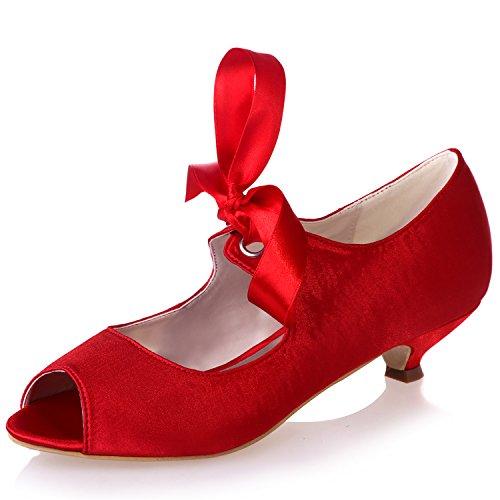 Satin Clearbridal Rouge Zxf0700 Ruban 14 Compensé Talon Femmes Talon Bas Avec Mariée Chaussures Mariage Cour De Ouvert Peep Bout 1qwRdnf1