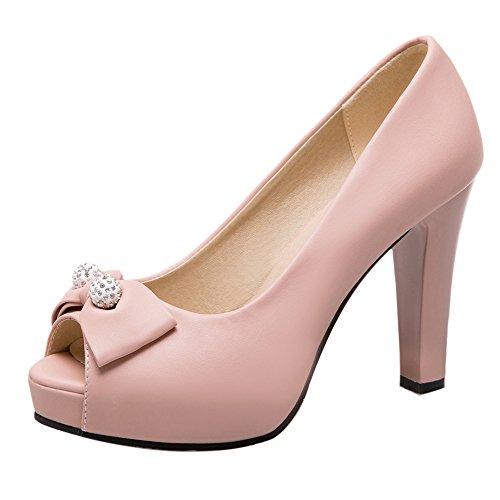 Coolcept Escarpins Femmes Talons Hauts Peep Toe Chaussures de Fete Mariage Pink-2