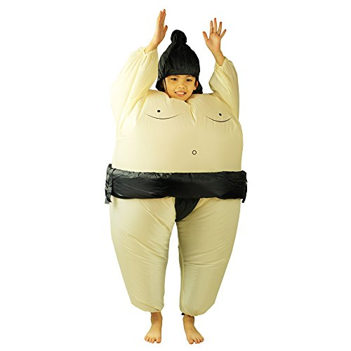 Inflatable Kids Sumo Wrestler Suits Halloween Costume Cosplay Dress White