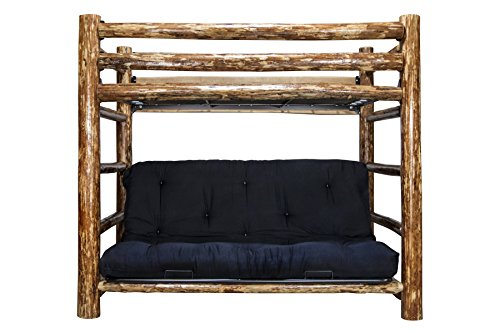 Montana Woodworks MWGCTWFMR Glacier Country Collection Bunk Bed Over Full Futon Frame with Mattress, Twin Country Futon Frame