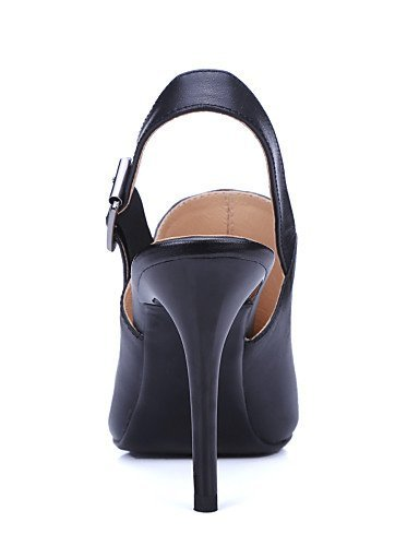ShangYi Womens Shoes Leather Stiletto Heel Heels / Slingback / Pointed Toe Sandals Party & Evening / Dress / (Genuine leather) Black