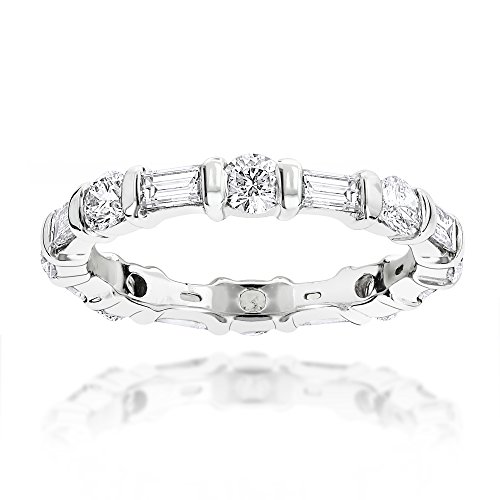 Luxurman Ladies 14K Baguette and Round Natural Diamond Eternity Band (White Gold Size 6) (Ring Diamond Platinum Eternity)