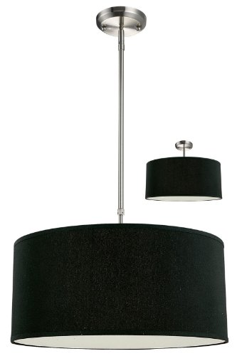 Z-Lite 171-20B-C Albion Three Light Pendant, Metal Frame, Brushed Nickel Finish and Black Shade of Fabric Material