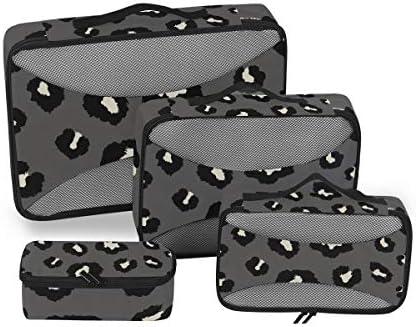 ブラックホワイトヒョウ柄荷物パッキングキューブオーガナイザートイレタリーランドリーストレージバッグポーチパックキューブ4さまざまなサイズセットトラベルキッズレディース