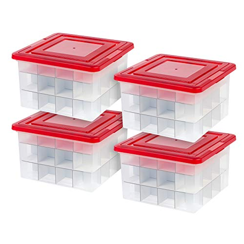 IRIS 37 Quart Holiday Storage Box with Ornament Dividers, 4 Pack, Red ()