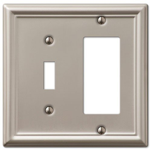 - Decorative Wall Switch Outlet Cover Plates (Brushed Nickel, Toggle Rocker)