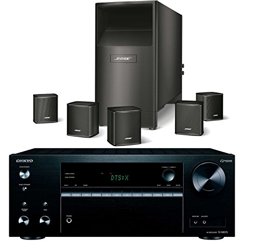 Bose Acoustimass 6 Series V Wired Home Theater Speaker System, Black, with Onkyo TX-NR575 4K HDR AV Receiver