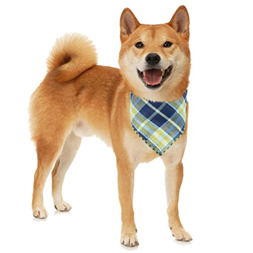 Mihachi-Dog-Bandanas-4-Pack-Bibs-Scarfs-Plaid-Washable-Reversible-Triangle-Kerchief-for-Pets