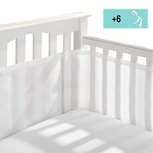 MBQMBSS Crib Bedding Bumper Set of 2 Baby Crib Bumper Mesh Adjustble Breathable Mesh Crib Liner Cotton Mesh Bumpers for Baby Crib 11.8