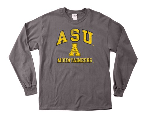 NCAA Appalachian State Mountaineers 100-Percent Pre-Shrunk Vintage Mascot Long Sleeve Tee, Small, Charcoal