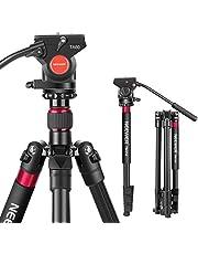 Neewer 2 in 1 Aluminium Kamerastativ Einbeinstativ 168 cm mit Schrauben Flüssig Ziehen und Schwenk Kopf und Tragetasche für Nikon Canon DSLR Kameras Video Camcorder