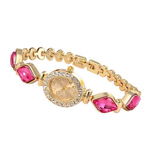 Watches for Girls,Analog Quartz Movement Wrist Watch Fashion Diamond Bracelet Watch(Hot Pink)