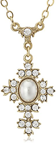 Oval Crystal Cross (Symbols of Faith 14k Gold-Dipped Simulated Oval Pearl Crystal Cross Pendant Necklace, 16