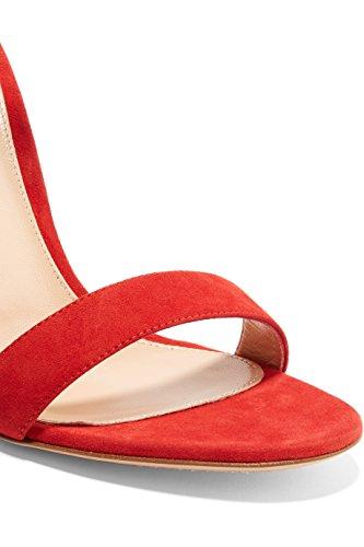 Eldof Donna Sandali Tacco Alto Open Toe Cinturino Alla Caviglia Stiletti Sexy Tacchi Sandalo Classico Rosso