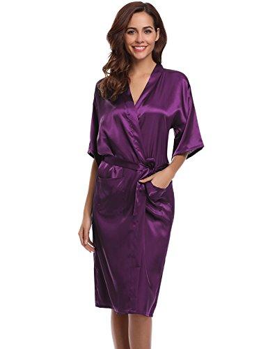 (Aibrou Women's Kimono Robe Dressing Gown Long Classic Satin Wedding Nightwear,Dark Purple,X-Large)