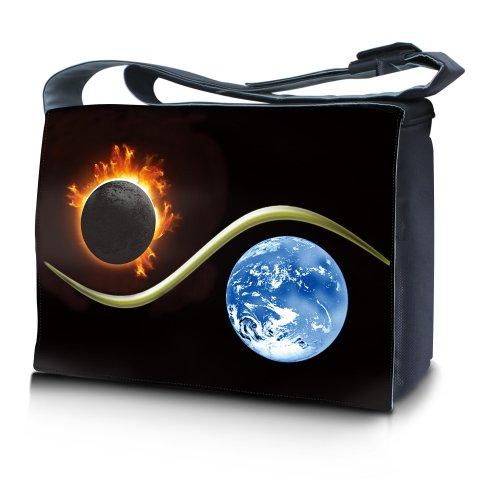 Luxburg® Design bolso bandolera de mensajero, de escuela bolso para portátil ordenadores Laptop Notebook 17,3 pulgadas, motivo: Erizo multicolor Yin Yang