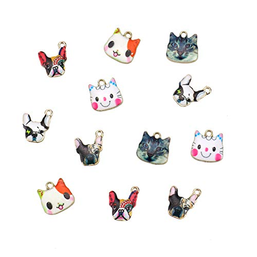 JETEHO 12pcs French Bulldog&Cat Enamel Charms - Unique 6 Styles Mosaic Designed Animal Charms for Pendant Bracelet DIY ()
