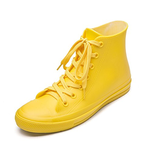 DKSUKO Women's Rain Boots Waterproof High Top Rain Shoes with Lace Up Anti-Slip Yellow Garden Shoes (6 B(M) US, Yellow)]()