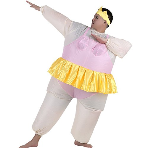 Adults Halloween For Ballerina Costumes (Inflatable Ballet Ballerina Cosplay Costume Halloween Funny Fancy Dress Blow Up Suit (Adult(150-200CM),)