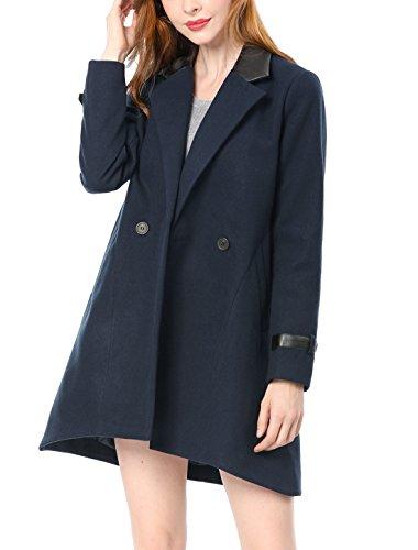 Allegra K Women's PU Panel Notched Lapel A Line Coat M Blue A-line Coat
