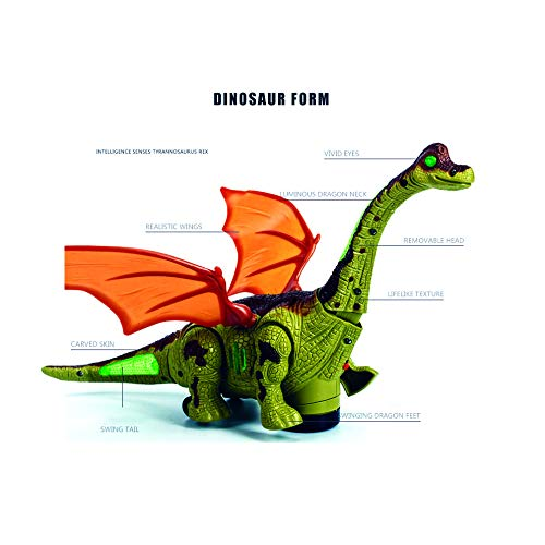 Mrocioa Electronic Dinosaur Toys Walking with Light up&Sound,Big Dino Action Figure 40cm Long for Toddler Boys,Shaking its Tail and Long Neck (Green) by Mrocioa (Image #2)