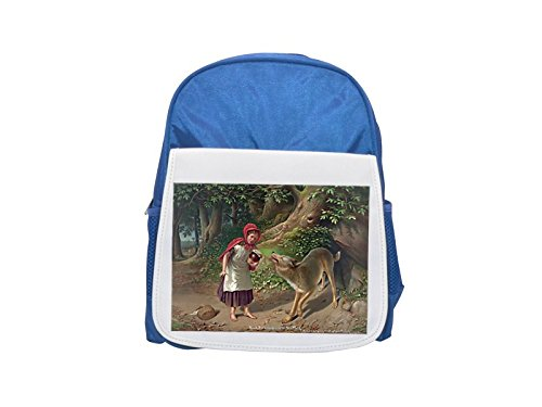 Little Red Riding Hood painting. printed kid's blue backpack, Cute backpacks, cute small backpacks, cute black backpack, cool black backpack, fashion backpacks, large fashion backpacks, black fashion (Little Red Riding Hood Cool School)